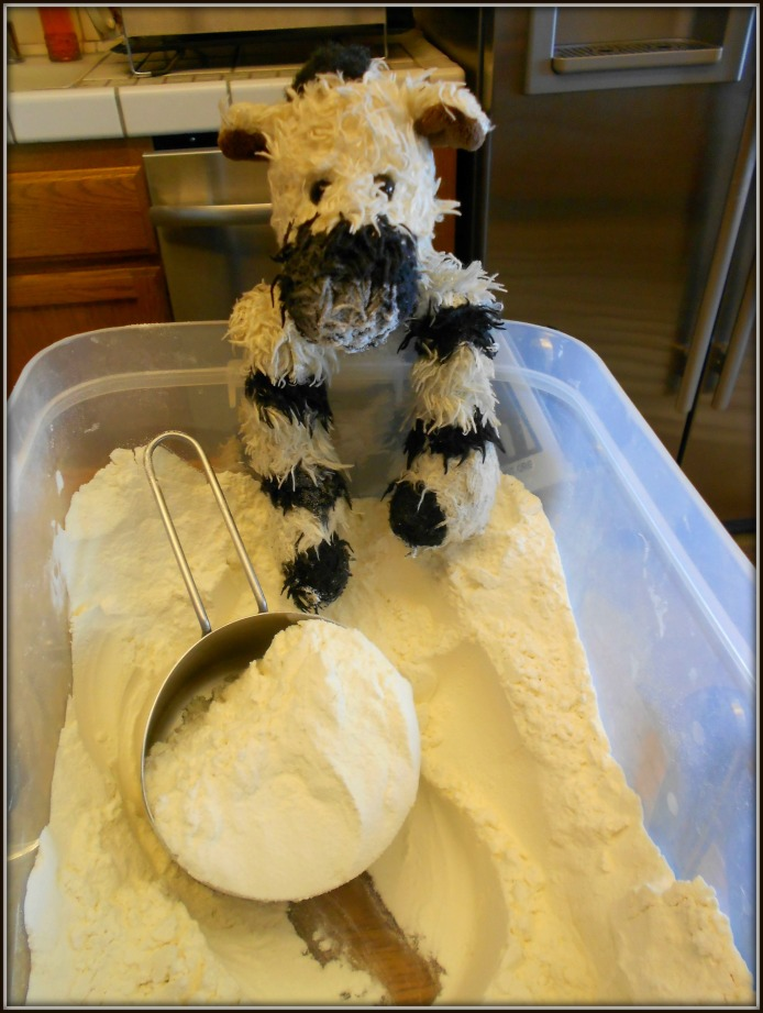 Before you mix flour with water and butter, you have to get it out of the bin (a bit challenging with hooves)!