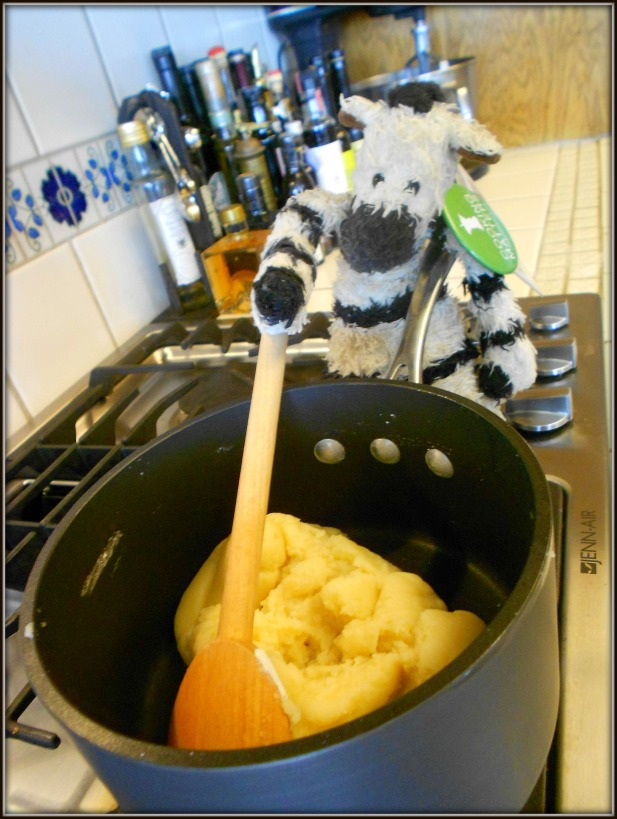 Mixing choux pastry takes muscles -- good thing zebras have a lot of them!