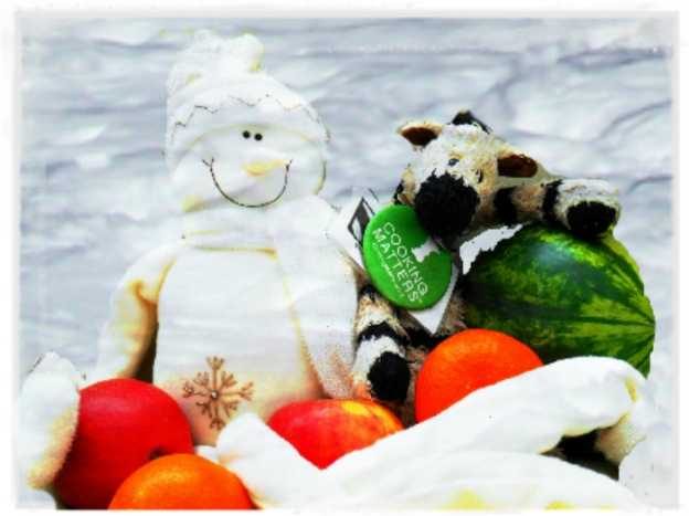 ZeBot & ZeBig Chill Snowman in Snow with White Frame