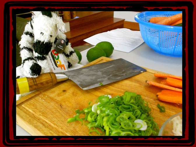 ZeBot Cleaver & Prepped Wok Ingredients for Chinese New Year