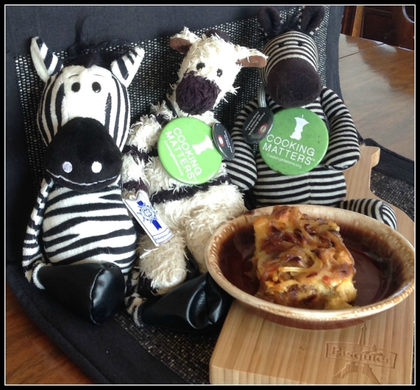 Zebras Feast on French Onion Soup Brioche Bread Pudding